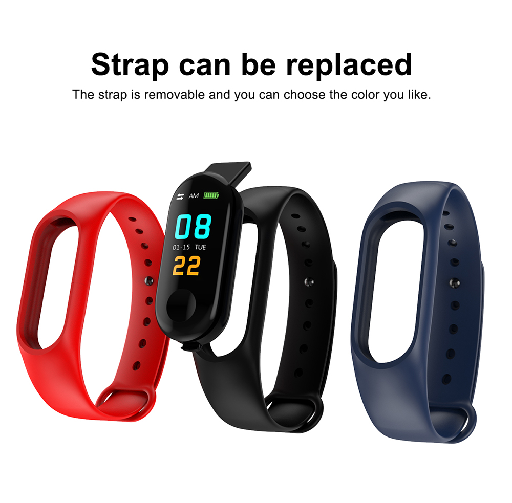 M3 Plus  Smart Bracelet 0.96 inch Screen Bluetooth 4.0 Call / Message Reminder Heart Rate Monitor Functions- Black