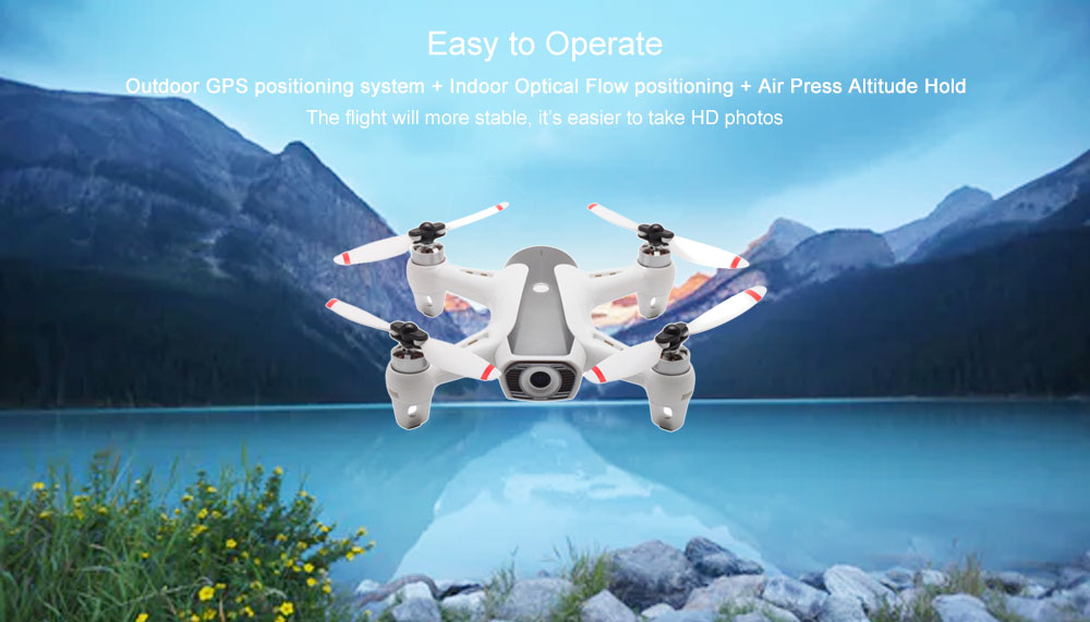 SYMA W1 WiFi 1080P GPS RC Drone Adjustable Camera Air Press Altitude Hold Headless Mode Quadcopter- White