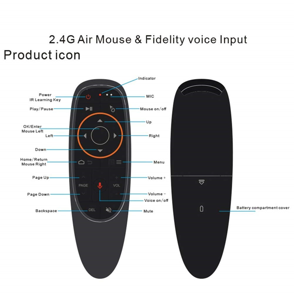 G10 Voice Control Fly Air Mouse 2.4GHZ Wireless Microphone Remote- Black