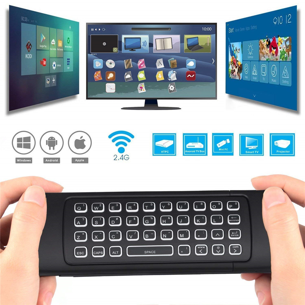 Android TV Box Wireless Backlit Remote Control Keyboard 2 4ghz for KODI PC  TV