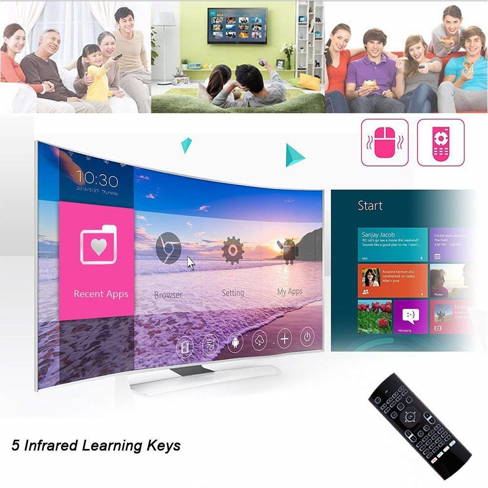 Android TV Box Wireless Backlit Remote Control Keyboard 2.4ghz for KODI PC TV- Black