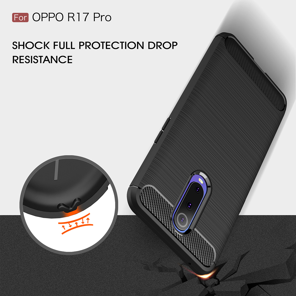 Carbon Fibre Anti-Fall Cell Phone Cell for Oppe R17 Pro- Black