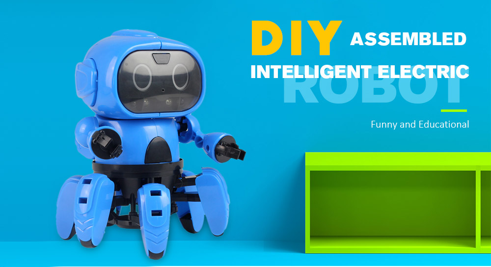 DIY Assembled Electric Robot Infrared Obstacle Avoidance Educational Toy- Dodger Blue