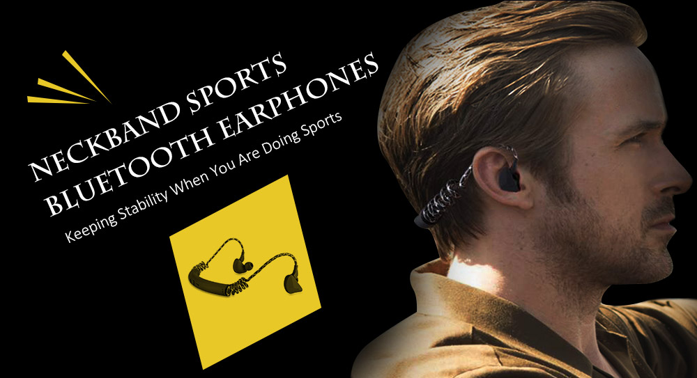 Neckband Bluetooth Earphone Sports Earbuds with Mic- Black