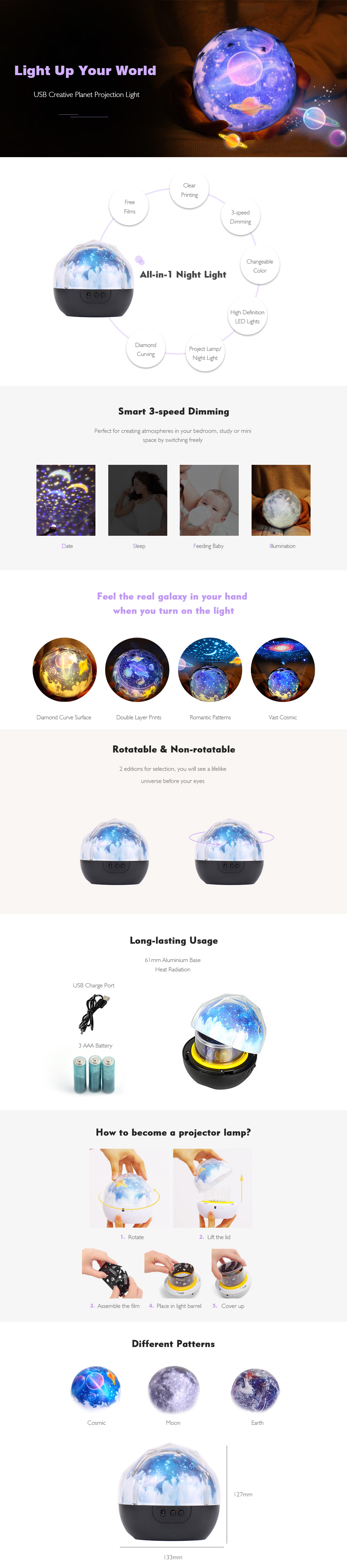 Creative USB Smart LED Night Light Rotatable Fantasy Color Projection Lamp                 - Black Cosmic Rotatable