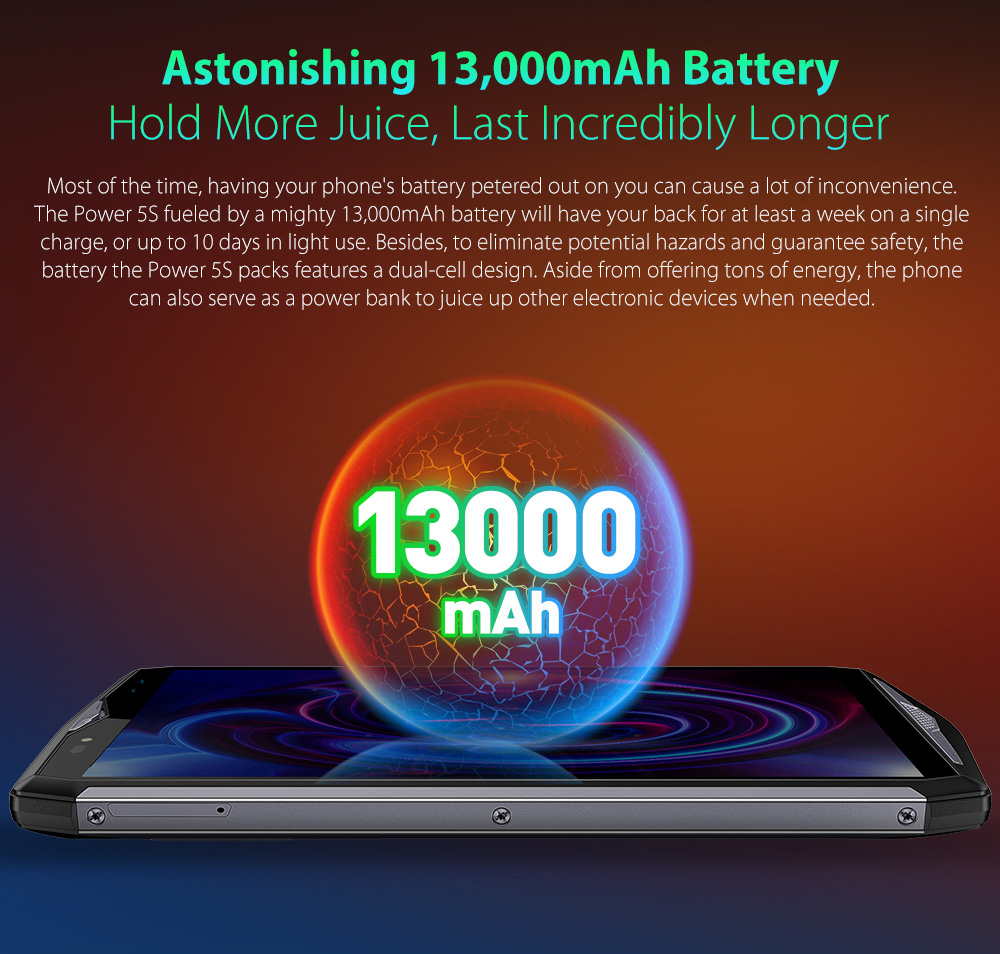 Ulefone Power 5S 4G Phablet 6.0 inch Android 8.1 MTK6763 Octa Core 2.0GHz 4GB RAM 64GB ROM 21.0MP + 5.0MP Rear Camera Fingerprint Sensor 13000mAh Built-in - Dark Gray