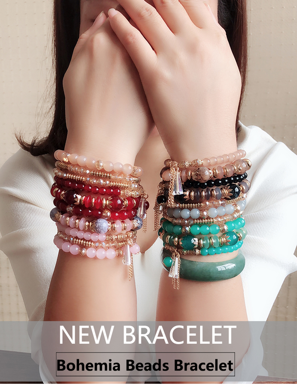 Bohemia Ocean Style Original Design Multilayer String Beads Crystal Bracelet- Celeste