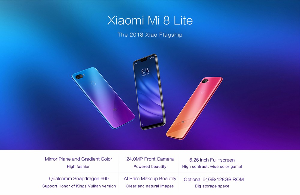 Xiaomi Mi 8 Lite 4G Phablet Android 8.1 6.26 inch Snapdragon 660 Octa Core 2.2GHz 4GB RAM 64GB ROM Dual Rear Cameras - Blue