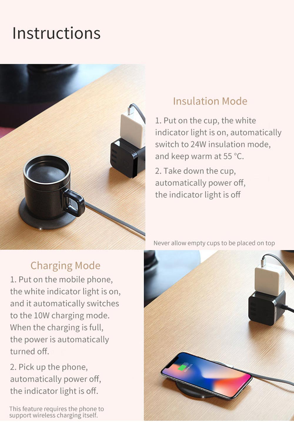 Wireless Charging Mug Electric Ceramic Cup for Home from Xiaomi Youpin - Coffee