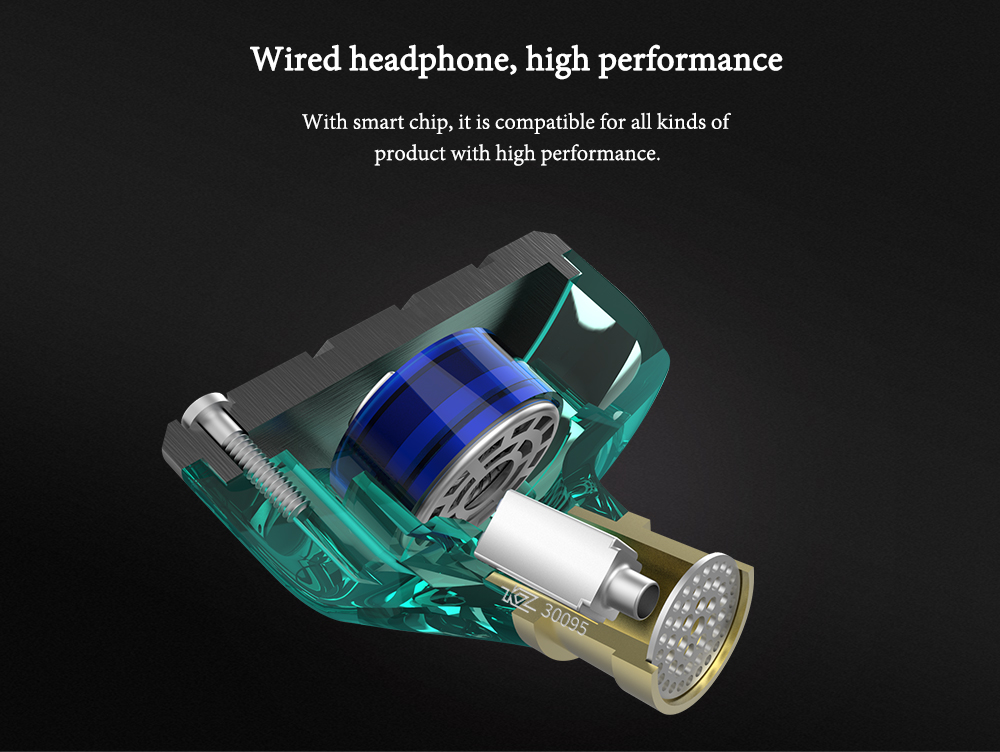 KZ ZSN Wired Noise-canceling In Ear Earphones- Medium Turquoise without Mic