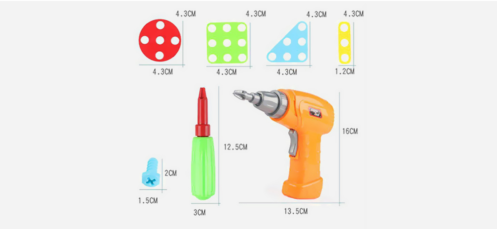 Educational Assembled Building Blocks Electric Drill Toy for Kids- Multi-A