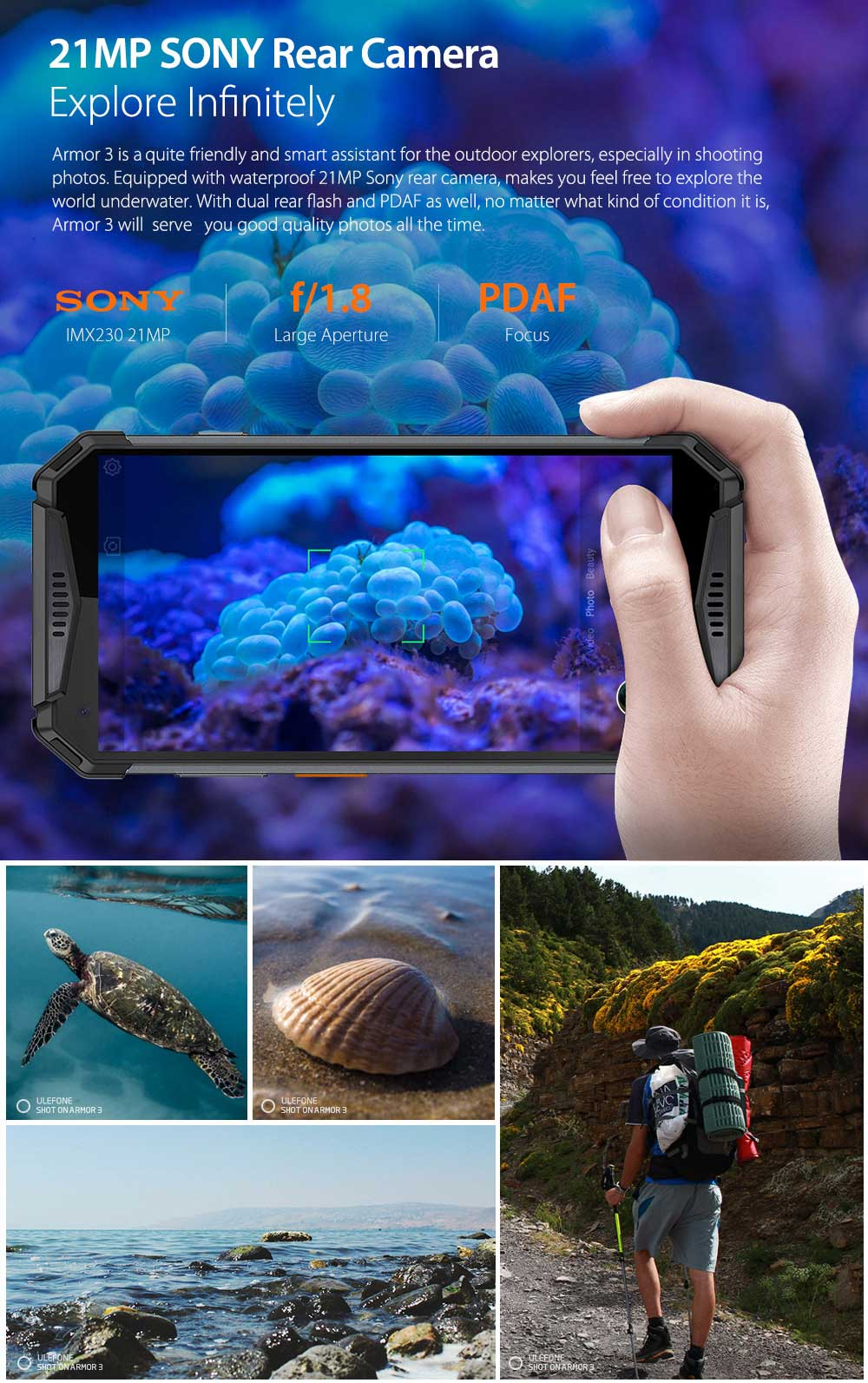 Ulefone Armor 3 4G Phablet 5.7 inch Android 8.1 Oreo Helio P23 ( MT6763T ) Octa Core 2.5GHz 4GB RAM 64GB ROM 21.0MP Rear Camera Fingerprint Sensor 10300mAh Built-in- Orange