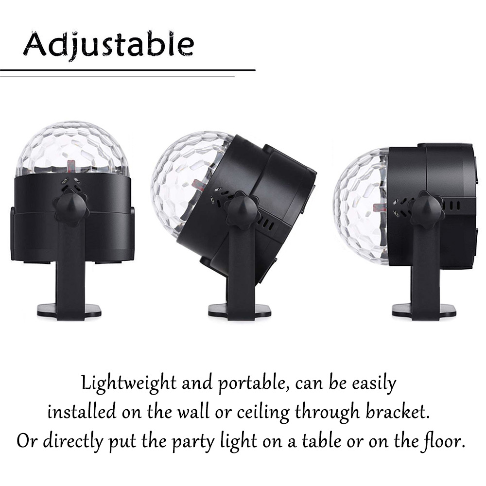 YouOKLight YK2278 Sound Disco Remote Control Party Light Disco Ball 2 Pack- Black US Plug (2-pin)