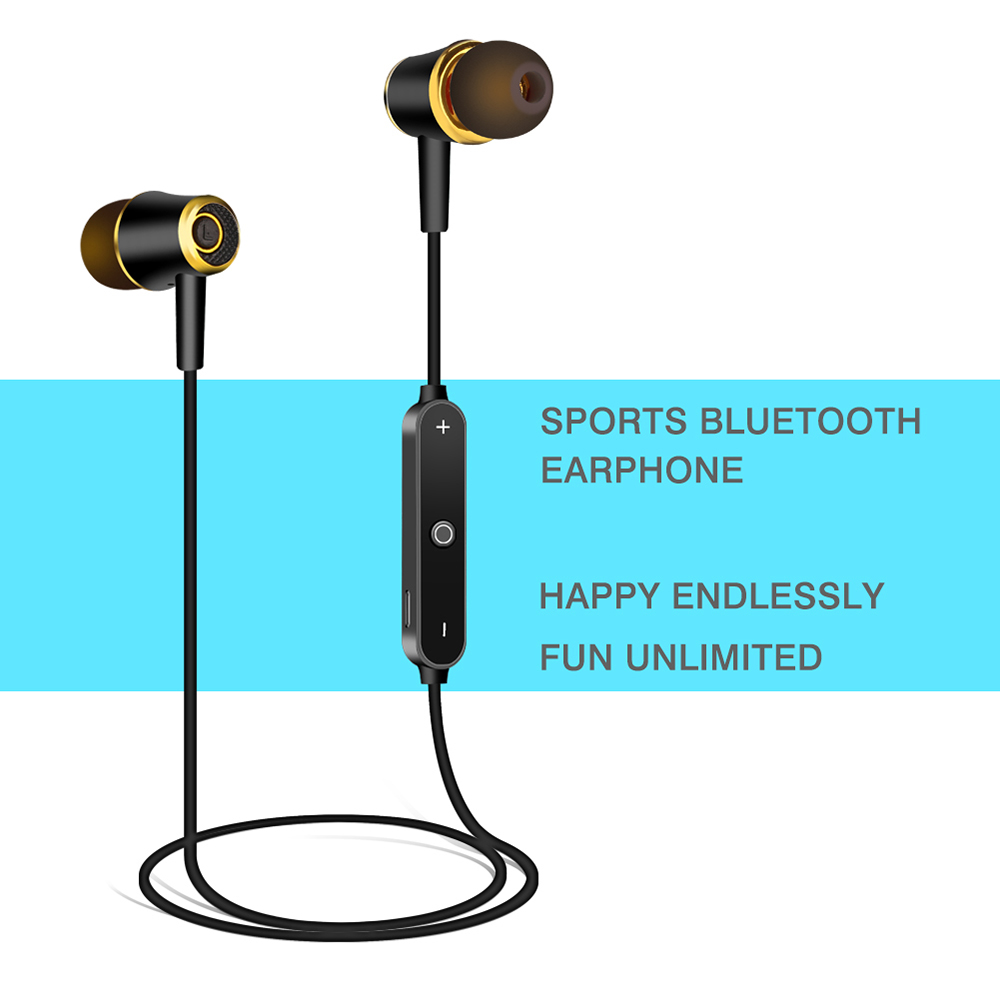L5 Sports Music Bluetooth Earphone Neckband Earbuds with Mic- Black Gold