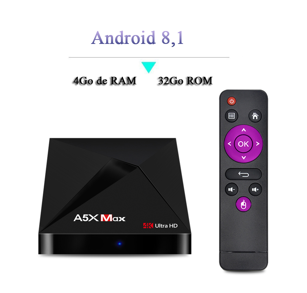 A5X Max Android 8,1 TV Box- Noir Prise US