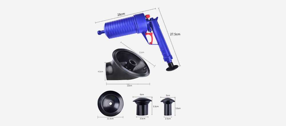 Powerful Toilet Plunger High Pressure Drain Blaster Air Powered Plunger Gun- Cobalt Blue