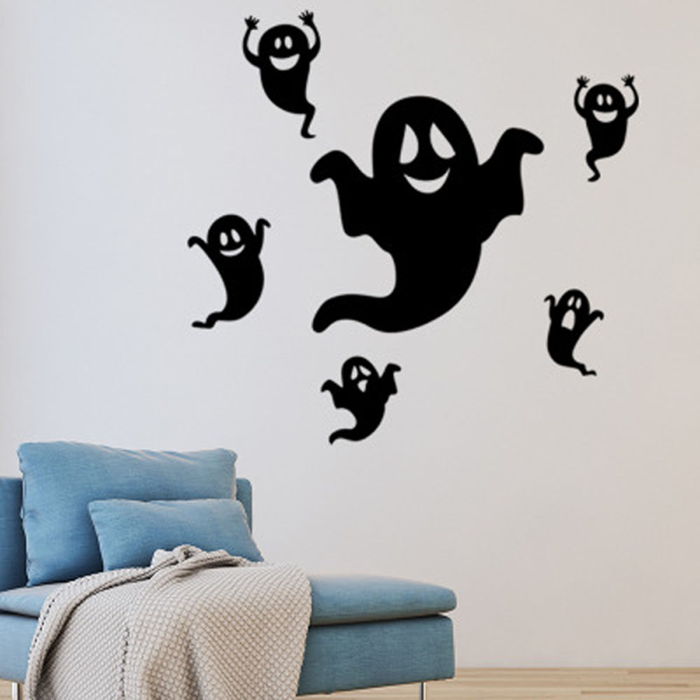 Halloween Series Funny Little Ghost Glass Window Decoration Wall Stickers Black 56x39cm