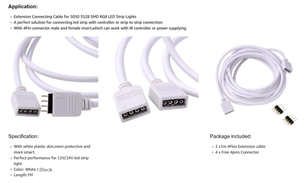 ZDM 2 Pack 1/ 2M Extension Cable Connect to SMD 5050 RGB LED Strip Wiring Led Strip Lights on