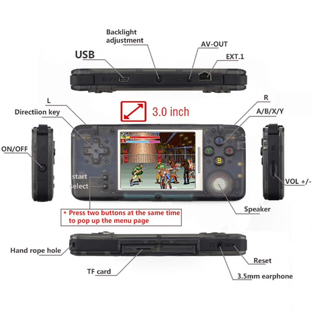 Handheld Game Console 3.0 inch Retro Game Console HD Sreen Game Player with 800