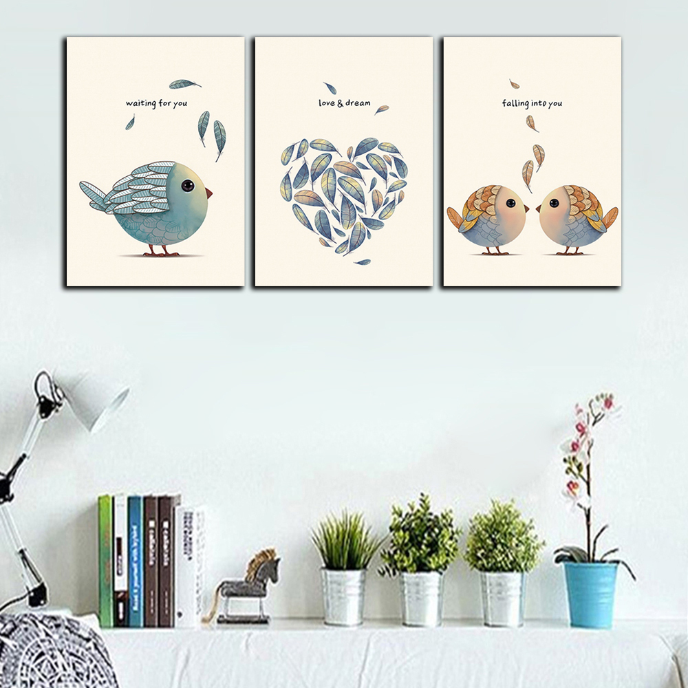 YISHIYUAN 3 Pc HD Inkjet Paints Bird Decorative Feather- Multi 3pcs x 12 x 18 inch( No Frame )
