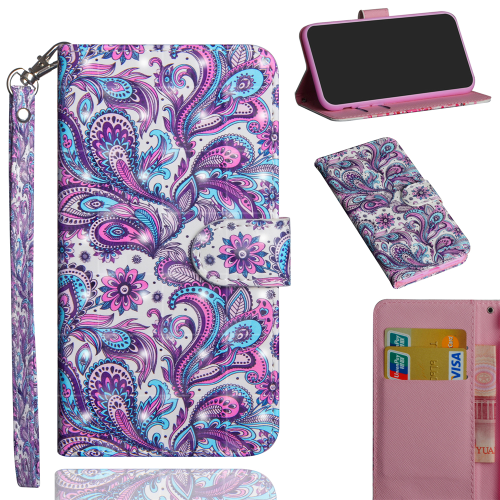 Fashion 3D Color Painting per LG Q Stylo 4 Custodia a conchiglia in pelle- Multi-E
