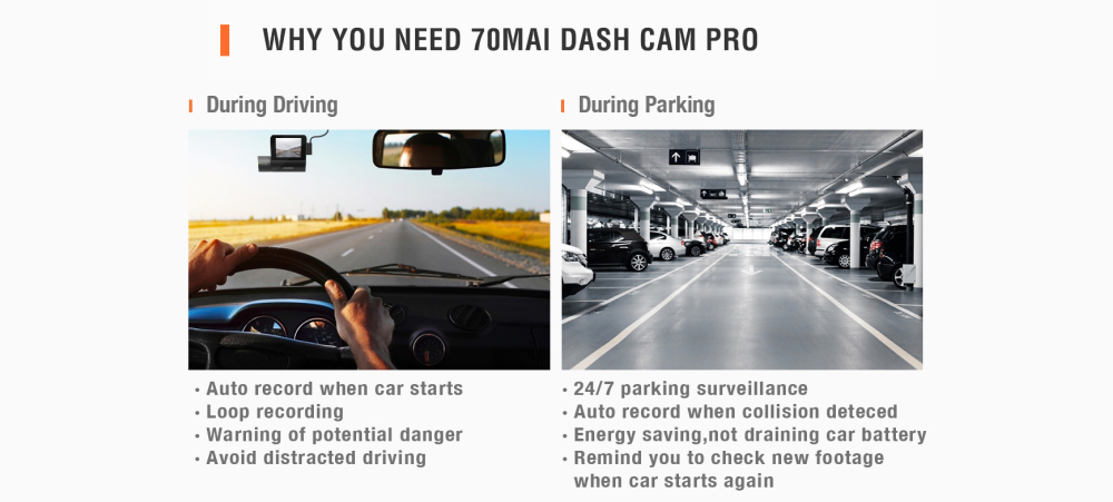 70mai Dash Cam Pro 1944P HD Car DVR Camera 140 Degrees FOV