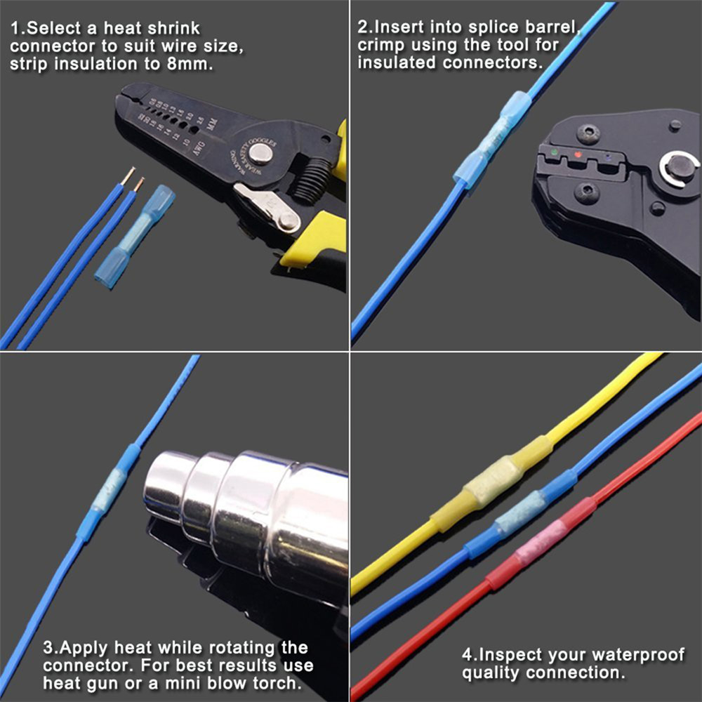 270pcs Heat Shrink Wire Connector Kit Electrical Insulated Crimp Wiring Connectors Marine Auto Multi A