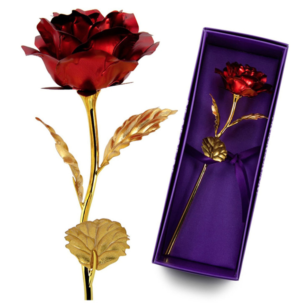 Holiday Gifts Natural Rose Flower 24k Gold Plated Real Rose Flower Mother/'s Day
