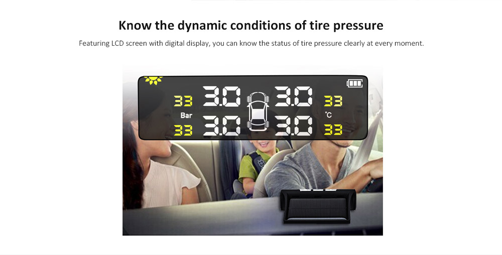 Tire Pressure Monitoring System Wireless Solar External Tires Pressure Detector- Black