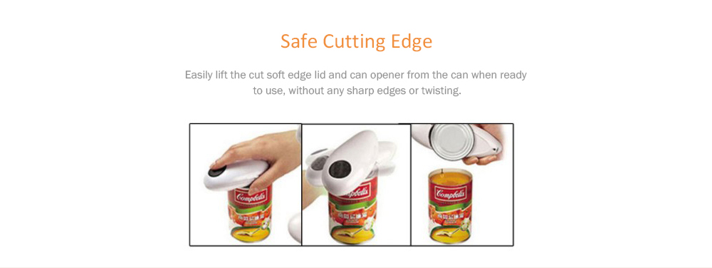One Touch Electric Tin Can Opener Automatic Bottle Open Tool- Milk White
