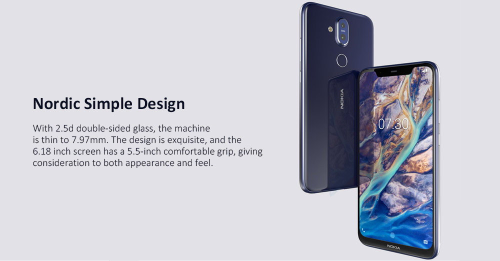 Nokia X7 International Version 4G Phablet Android 8.0 6.18 inch Snapdragon 710 Octa Core 2.2GHz 4GB RAM 64GB ROM 12.0MP + 13.0MP Dual Rear Cameras- Blue