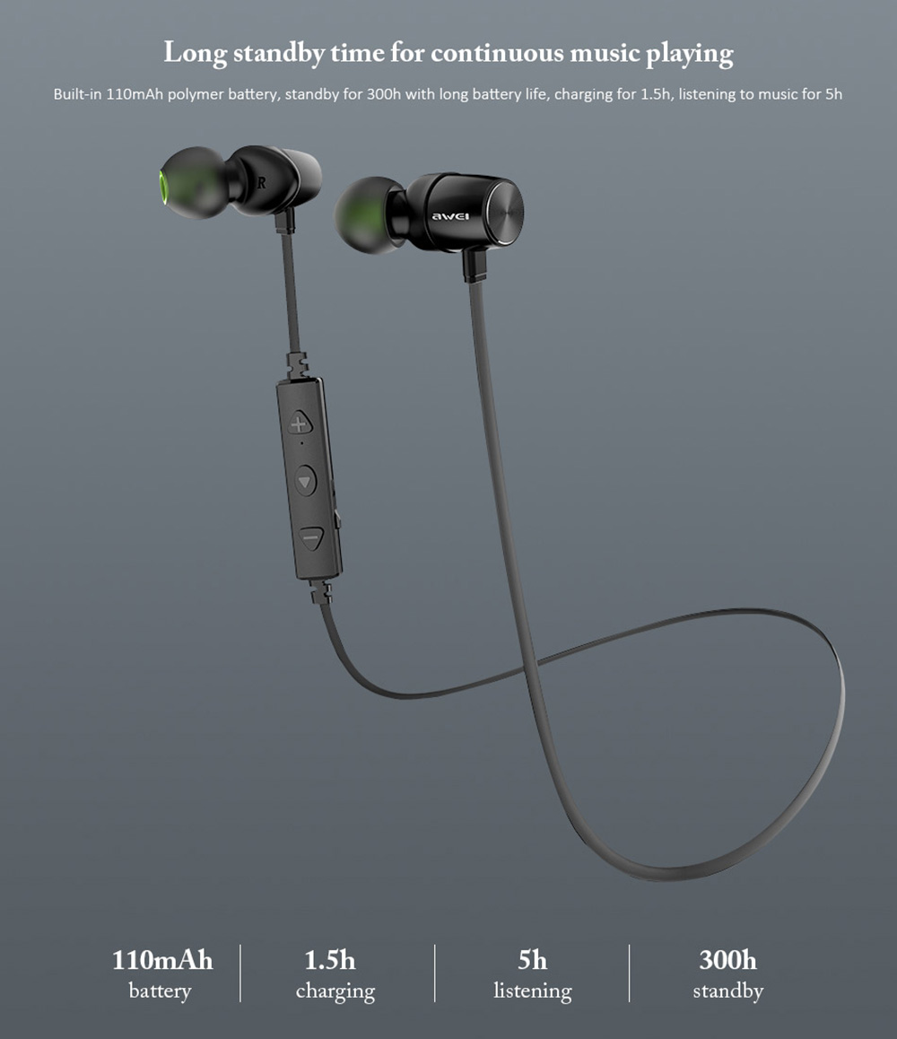 Awei WT30 Magnetic Sports Bluetooth Earphone Earbuds- Black