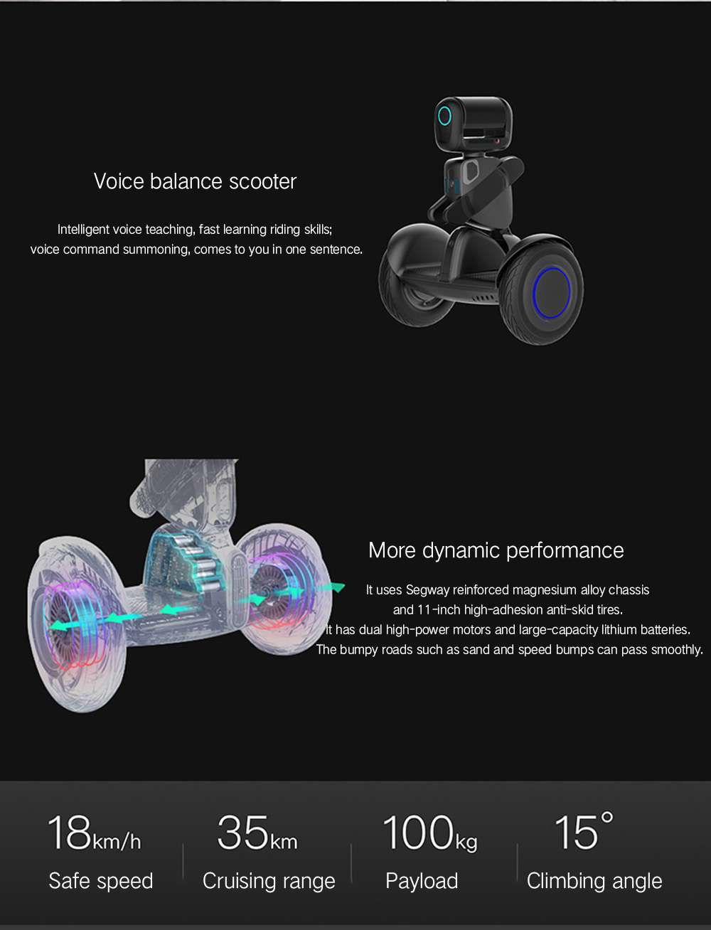 Ninebot Segway 2 Wheels Electric Self Balancing Scooter from Xiaomi mijia- Black