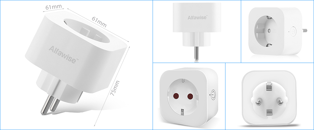 Alfawise PE1004T Compact Design Smart Plug Mini WiFi Socket EU Standard- White