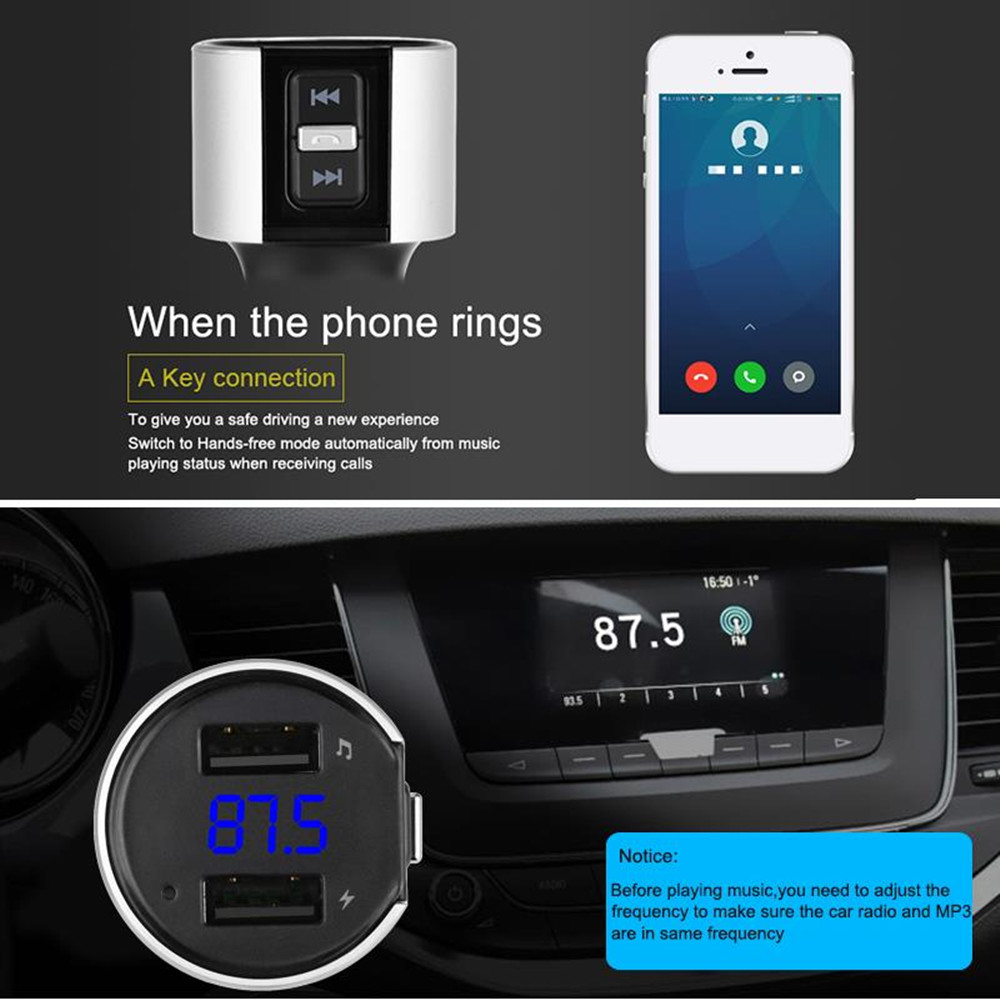 Comsoon Bluetooth FM Transmitter for Car Car Kit Supports USB Flash Drive Bluetooth Adapter Wireless Radio Receiver Green Hands-Free Calling Car Charger with 18W Type-C /& 5V//2.4A Dual Ports