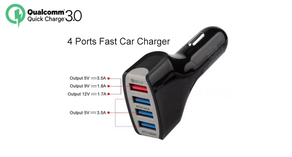 4 Ports QC3.0 Fast Charging Car Charger for Smartphone / Camera / Digital Devices- Ash Gray