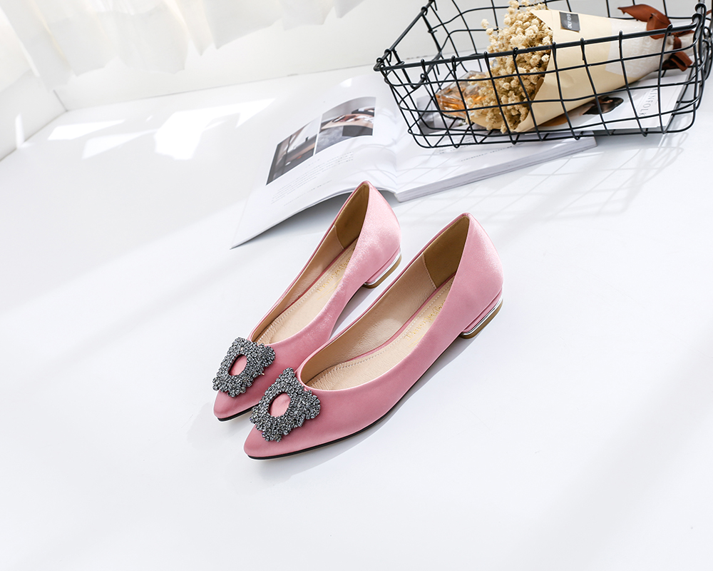 8cb37fe83129b Pointed Square Buckle Rhinestone Flat Shoes Shallow Mouth Women S Shoes-  Black EU 39