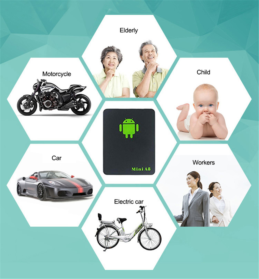Mini A8 Tracker Global Real Time Car Device GSM LBS Tracking Power GPS- Black