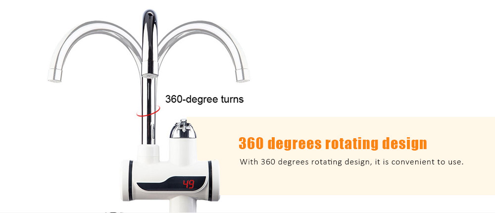 Electric Instant 3 Seconds Heating Hot Cold Dual-use Digital Display Temperature Faucet- White Side inflow