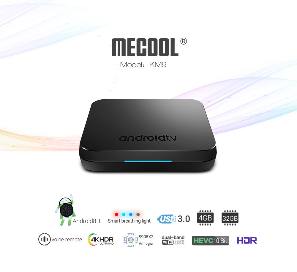 MECOOL KM9 Android TV OS TV Box with Voice Remote Amlogic S905X2 Android 8.1 4GB LPDDR4 + 32GB ROM 2.4G + 5G WiFi 100Mbps BT4.1 Support 4K H.265- Black EU Plug