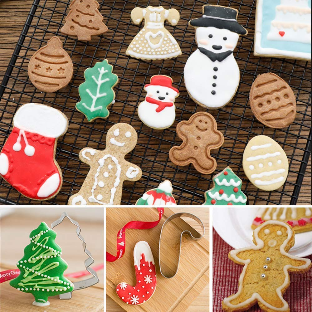 14Pcs Christmas Cookie Cutter Xmas Fondant Mold Stainless Steel- Silver