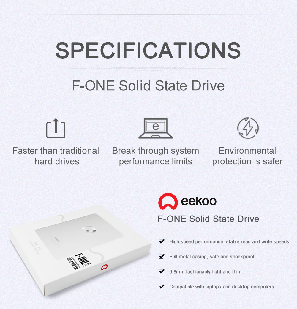 eekoo 120G SSD Solid State Drives SATA3 3.0 6GB/s Support Windows Linux- Silver