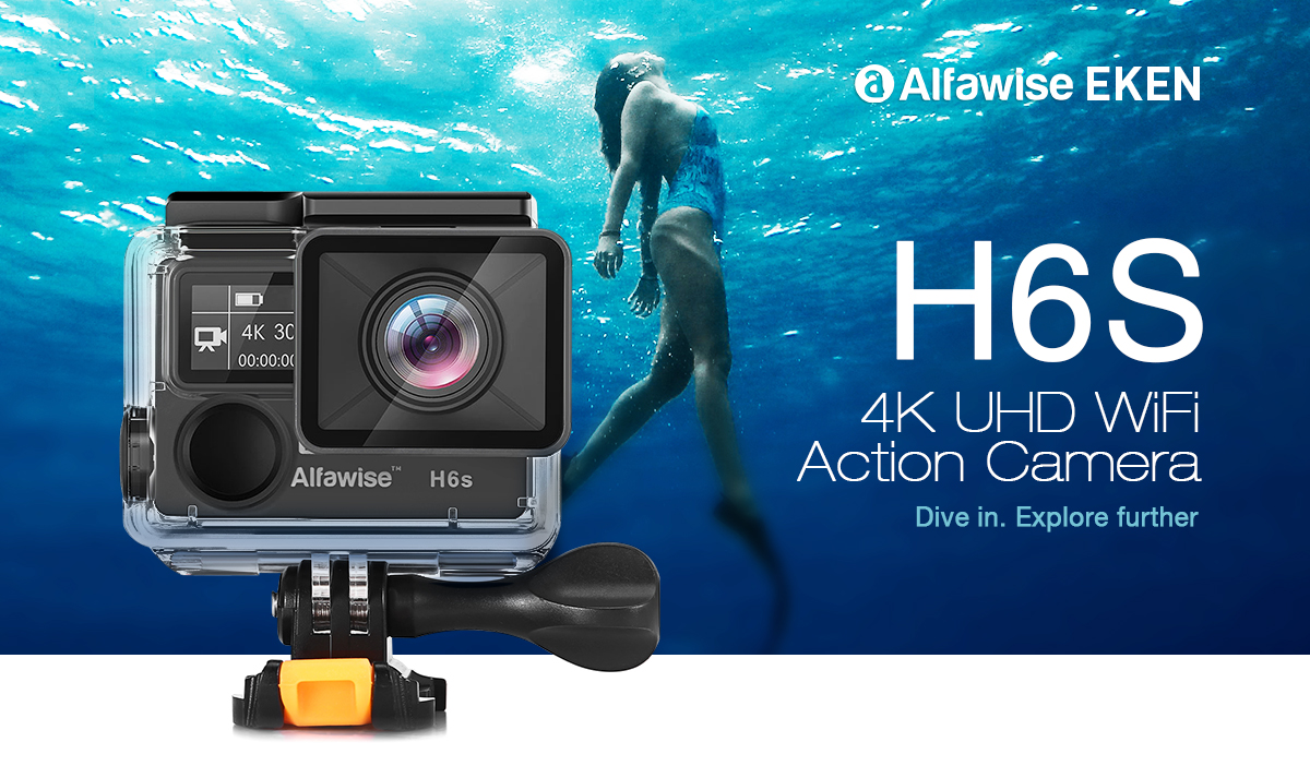 Alfawise EKEN H6S 2 inch 4K HD WiFi Action Camera Waterproof Sports DV with EIS Anti-shake- Black