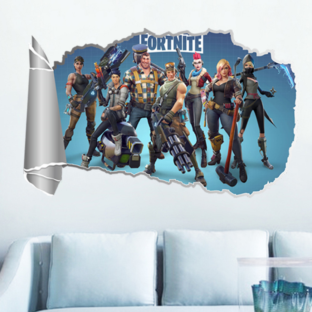 Fortnite 3d effect wall sticker game room decoration sticker multi a 16 x 24