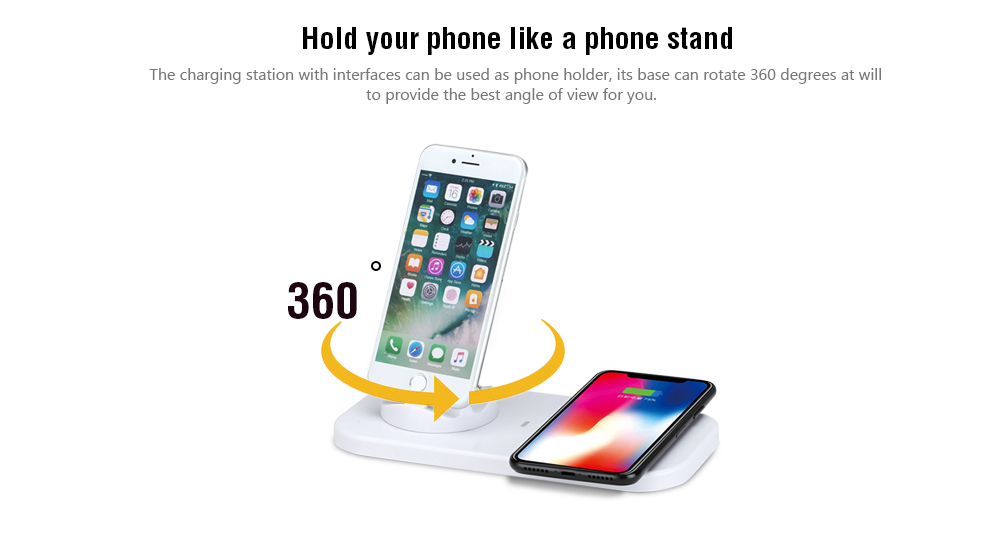 Wireless Charger with Base Support for Android and iPhone System- White 7389ba297b
