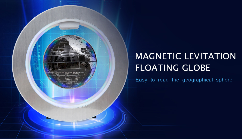 Magnetic Levitation Floating Globe LED Light- Silver