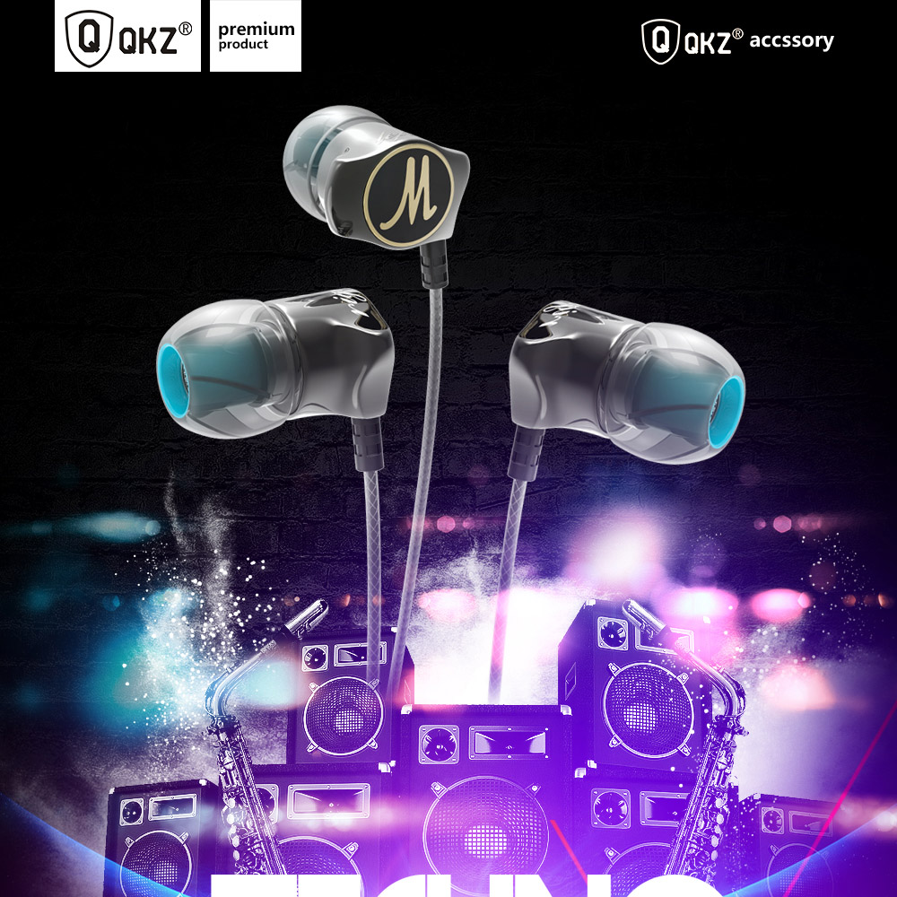 QKZ DM7 3.5mm Aluminum Alloy in Ear Wired Earphone- Black with Mic