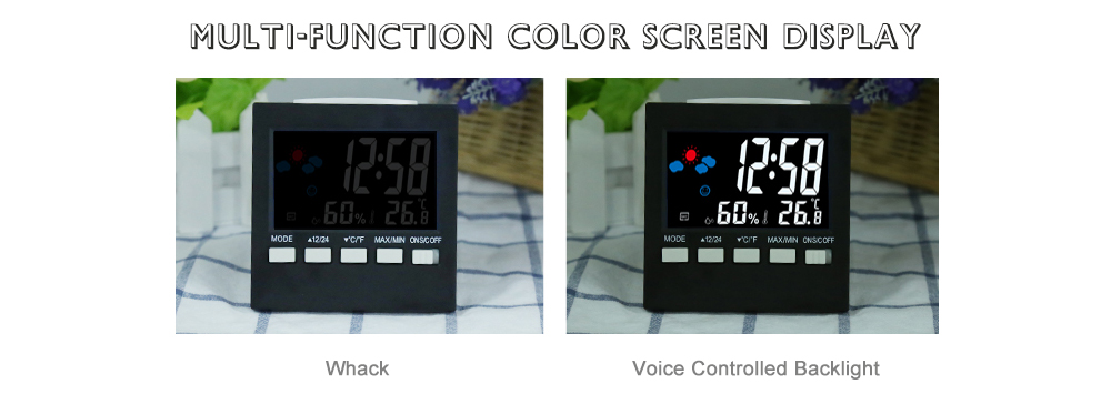 2159T Color Screen Weather Station Thermometer Electronic Alarm Clock- Black