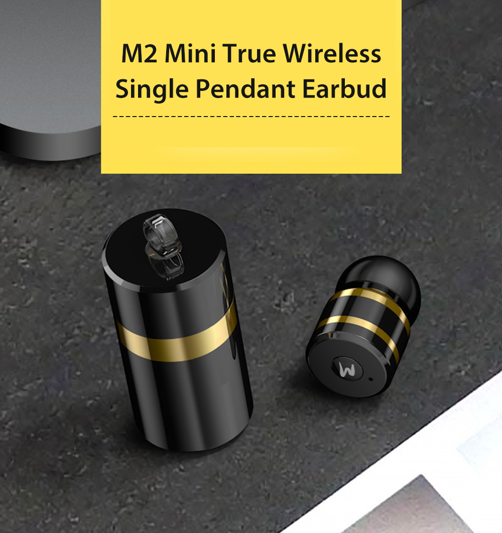 M2 Mini True Wireless Single Earbud Invisible Bluetooth Earphone with Storage Box- Silver