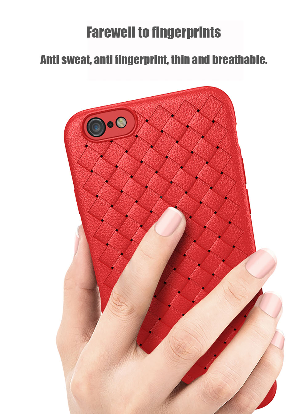 Luxury Grid Weaving Super Soft Cases for iPhone 6 6S Cover Silicon Accessories- Red